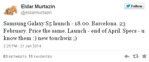 Galaxy S5 có thể ra ngày 23/2 tại triển lãm MWC
