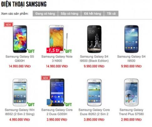 Galaxy S5 và Note 3 chính hãng giảm giá hơn một triệu đồng
