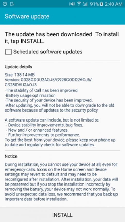 Galaxy S6 edge có bản cập nhật phần mềm đầu tiên