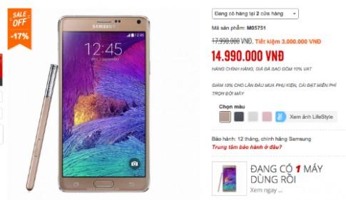 Giá Galaxy Note 4 chính hãng giảm còn 15 triệu đồng