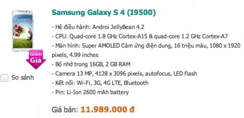 Giá Galaxy S4 chính hãng giảm mạnh sau khi S5 ra mắt
