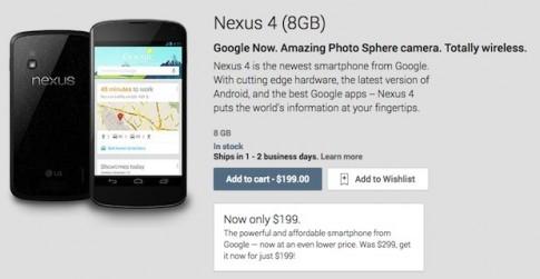 Google giảm giá điện thoại Nexus 4 chỉ còn 199 USD