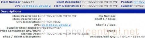 HP TouchPad 32GB giá có thể là 599 USD
