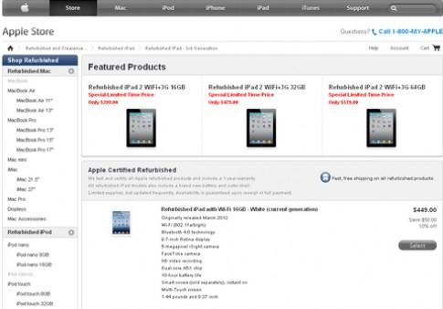 iPad 2012 'refurbished' có giá từ 450 USD