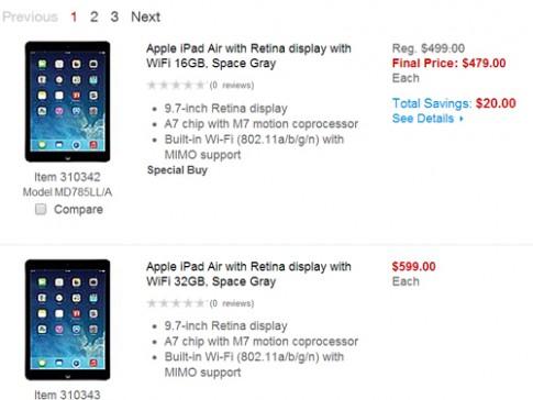 iPad Air bản Wi-Fi vừa bán đã giảm giá 20 USD tại Mỹ