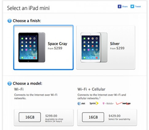 iPad Mini đời đầu giảm giá và đổi tùy chọn màu sắc