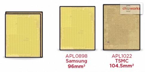 iPhone 6s sử dụng hai bộ vi xử lý có kích cỡ khác nhau