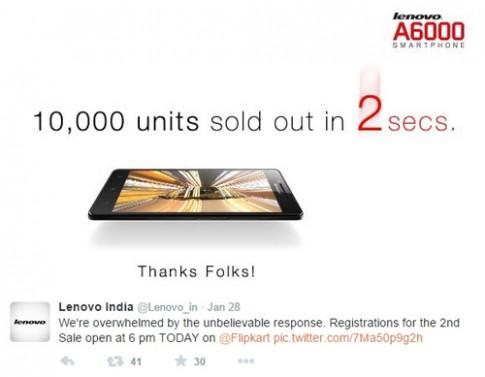 Lenovo bán 10.000 điện thoại giá rẻ trong 2 giây