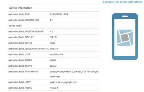 LG Nexus 4 được xác nhận chạy Android 4.2
