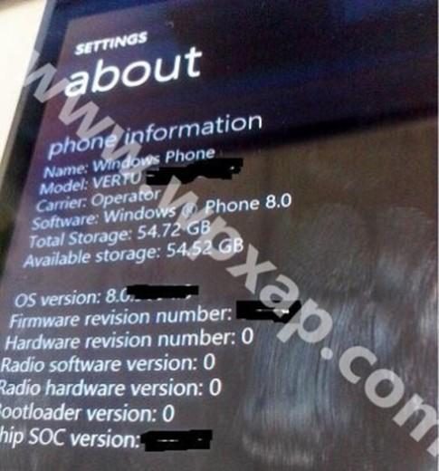 Lộ ảnh smartphone Vertu dùng Windows Phone