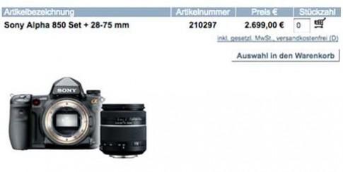 Lộ diện Sony Alpha 850 full-frame