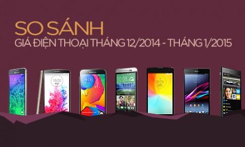 Loạt smartphone giảm giá tháng 1/2015