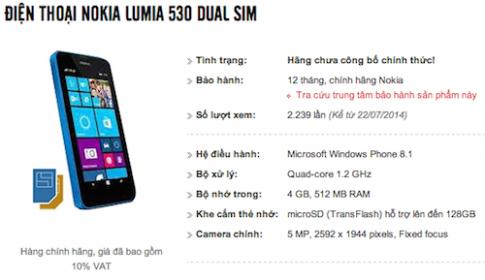 Lumia 530 chạy Windows Phone 8.1 sẽ ra mắt tháng sau