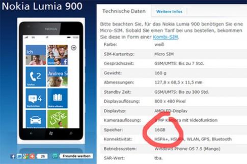Lumia 900 32GB tại Đức có thể là lỗi đánh máy
