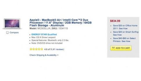 MacBook Air 2010 bắt đầu giảm giá
