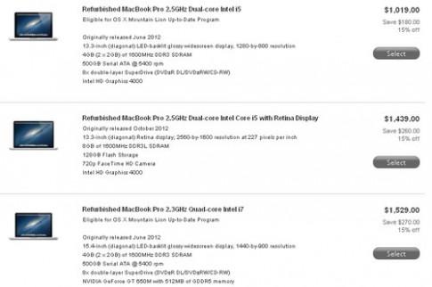 MacBook Pro Retina hàng 'refurbished' giá từ 29,9 triệu