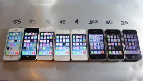 Màn đọ tốc độ của 8 thế hệ iPhone