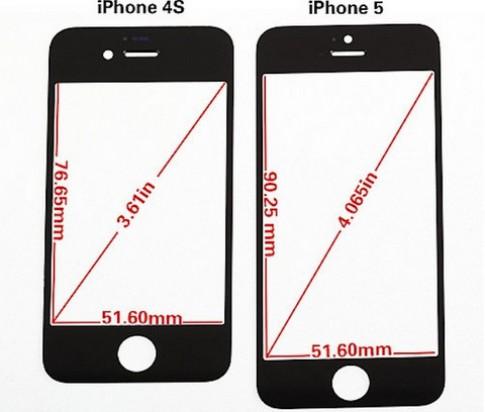 Mặt màn hình của iPhone 5 mỏng hơn 4S