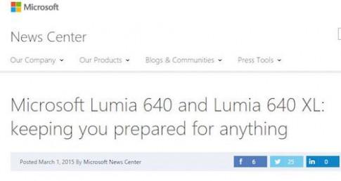 Microsoft vô tình tiết lộ bộ đôi Lumia 640 và 640 XL