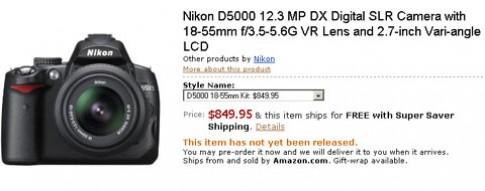 Nikon D5000 đã cho đặt hàng qua mạng