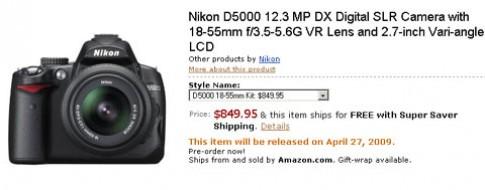 Nikon D5000 sẽ bán vào ngày 27/4