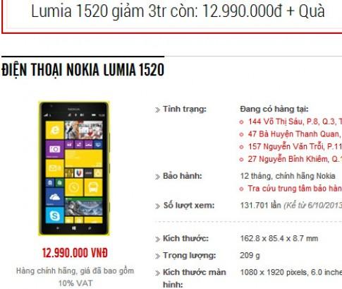 Nokia Lumia 1520 chính hãng giảm giá tới 3 triệu đồng
