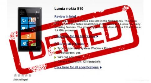 Nokia phủ nhận thông tin về Lumia 910