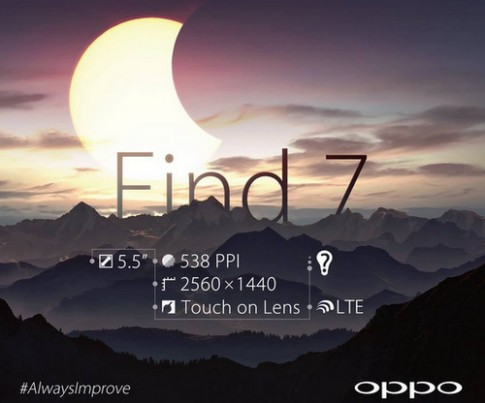 Phablet Oppo Find 7 màn siêu nét sẽ có hai phiên bản