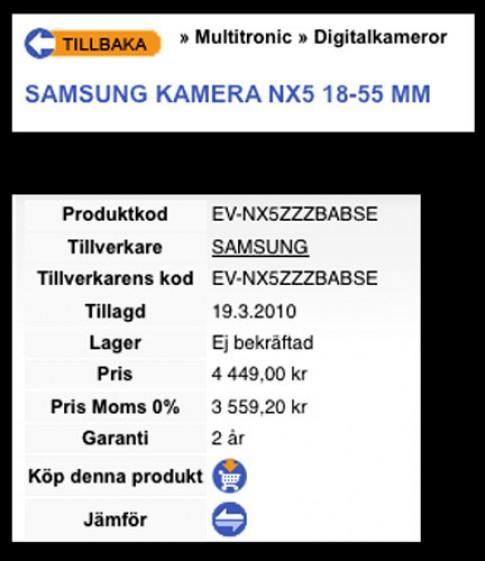Samsung lộ bản NX5