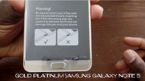 Samsung thêm cảnh báo cắm bút ngược trên Galaxy Note 5