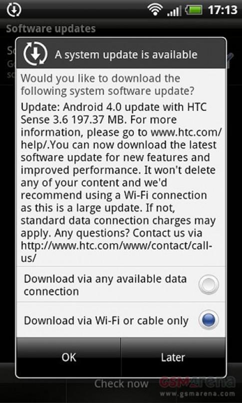 Sensation XL bắt đầu lên Android 4.0