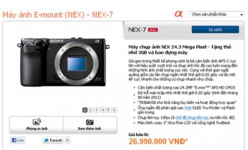 Sony NEX-7 chính hãng giá 27 triệu đồng
