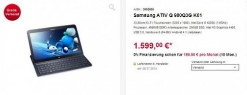 Tablet Ativ Q chạy Android và Windows giá hơn 44 triệu đồng tại Đức