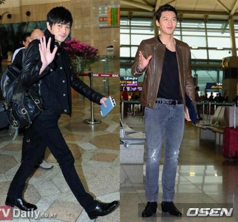 Thời trang sân bay hai thế hệ sao nam xứ Hàn