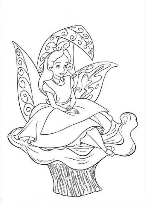 Tranh tô màu 'Alice ngồi trên cây'