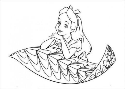 Tranh tô màu 'Alice ngồi trên lá'