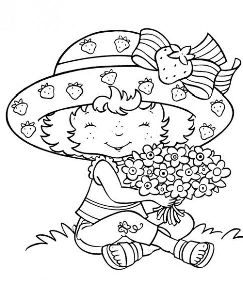 Tranh tô màu 'Bé ôm hoa'
