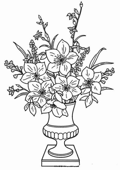 Tranh tô màu 'Bình hoa'