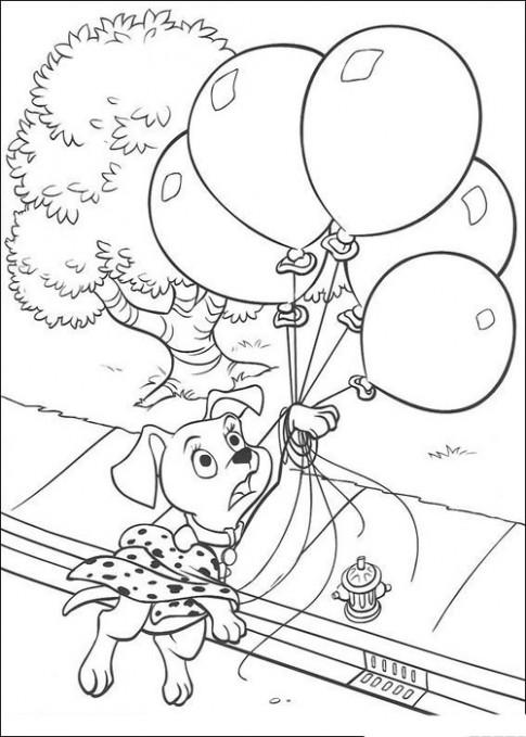 Tranh tô màu 'Chó đốm và bóng bay'