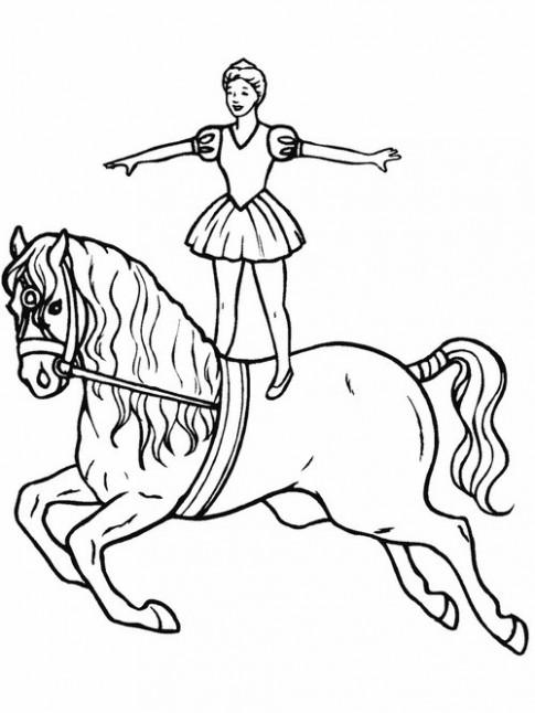 Tranh tô màu 'Làm xiếc trên lưng ngựa'