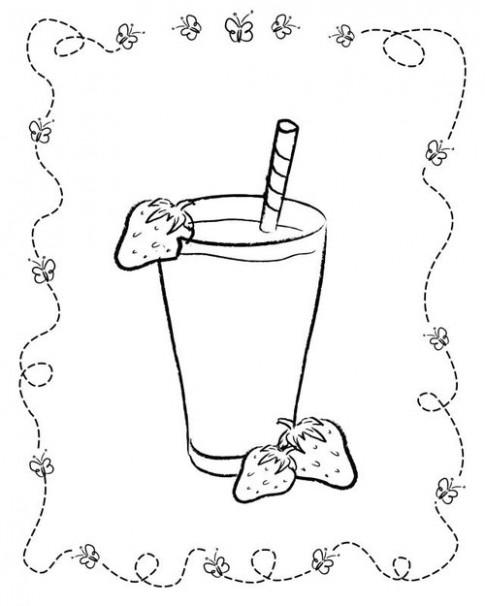 Tranh tô màu 'Ly nước quả dâu'