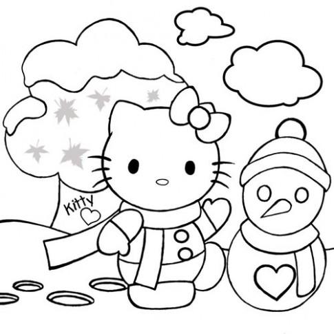 Tranh tô màu 'Mèo Kitty bên người tuyết'
