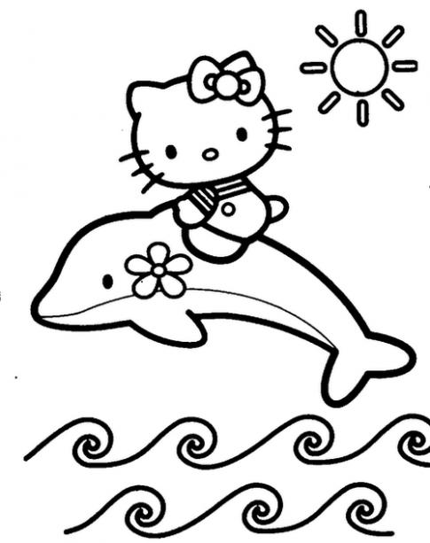Tranh tô màu 'Mèo Kitty cưỡi cá heo'