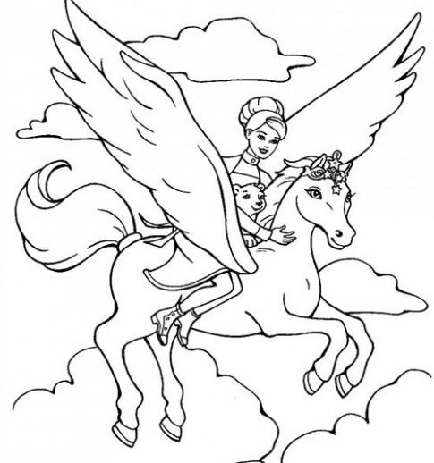 Tranh tô màu 'Nàng tiên cưỡi ngựa thần'