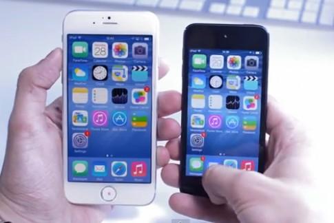 Video mo phong iPhone 6 man hinh lon chay iOS 8