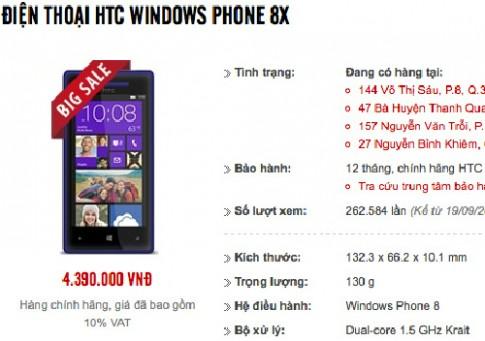 Windows Phone HTC 8X tái xuất với giá rẻ