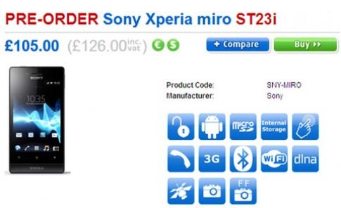 Xperia Miro có mặt ở Anh, giá hơn 4 triệu đồng