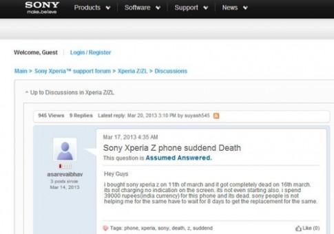 Xperia Z bị tố dính lỗi 'đột tử'