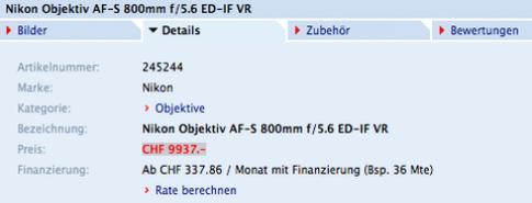 Giá Nikon 800mm f/5.6 có thể là 10.200 USD