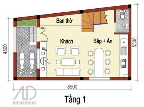 Hướng và mặt bằng nhà nhỏ 3 tầng
